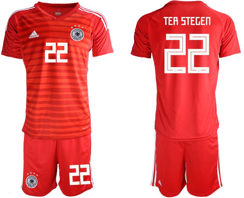 2018-19 Germany 22 TER STEGEN Red Goalkeeper Soccer Jersey