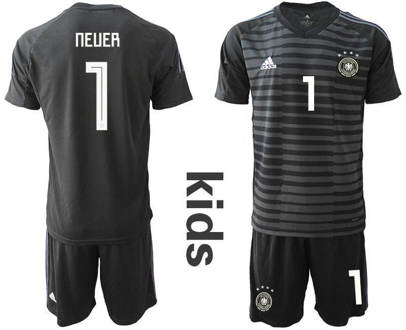 2018-19 Germany 1 NEUER Black Youth Goalkeeper Soccer Jersey