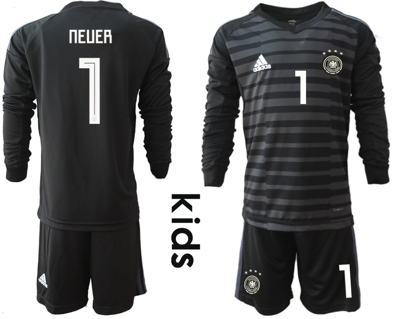 2018-19 Germany 1 NEUER Black Youth Long Sleeve Goalkeeper Soccer Jersey