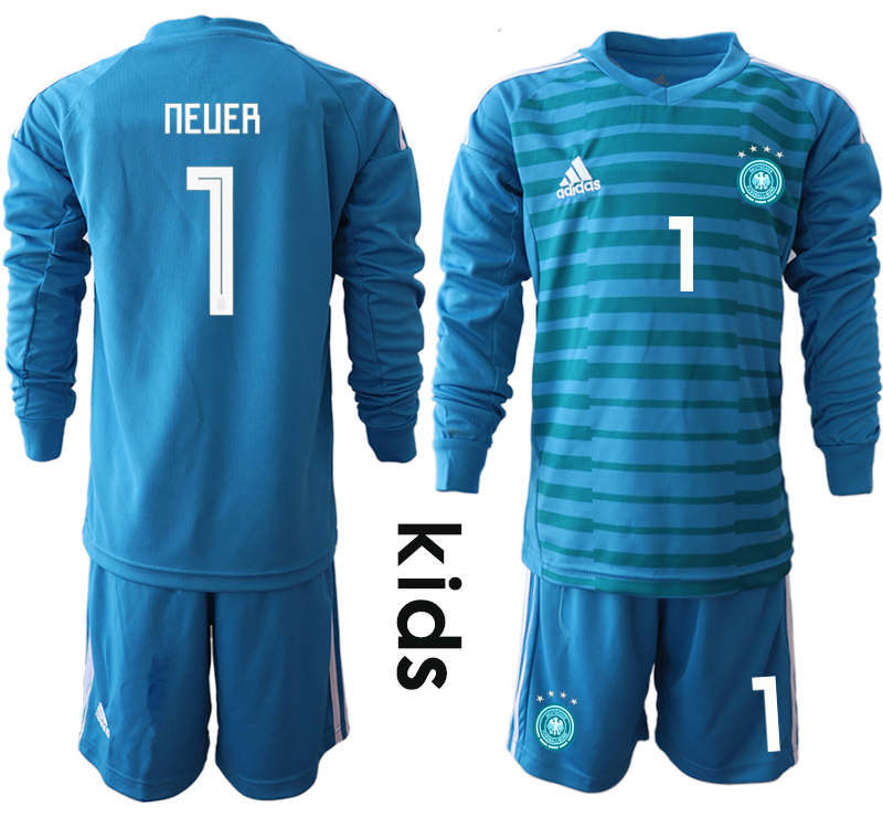 2018-19 Germany 1 NEUER Blue Youth Long Sleeve Goalkeeper Soccer Jersey