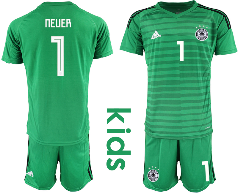 2018-19 Germany 1 NEUER Green Youth Goalkeeper Soccer Jersey