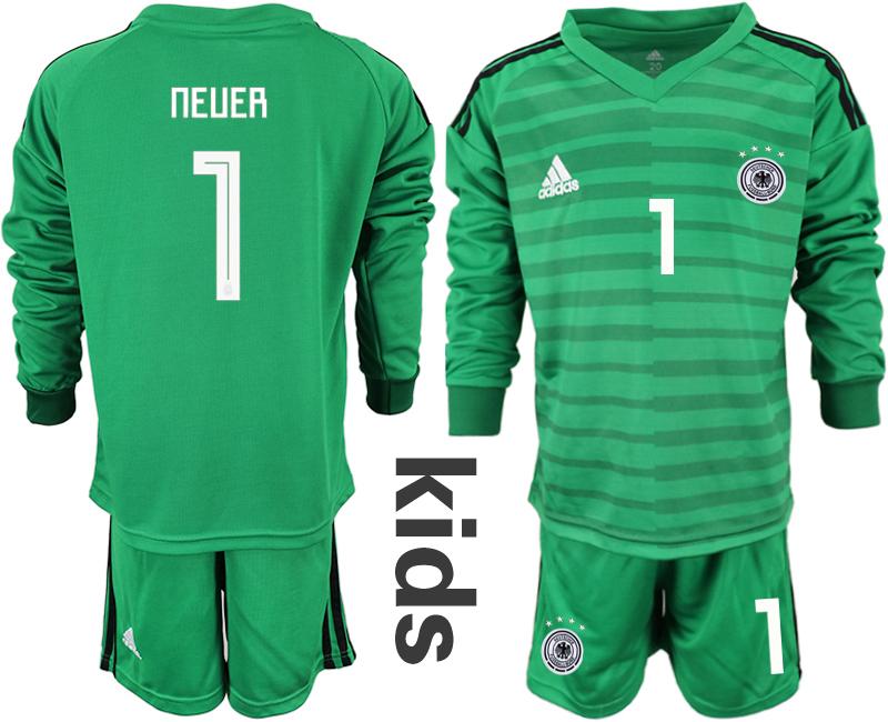 2018-19 Germany 1 NEUER Green Youth Long Sleeve Goalkeeper Soccer Jersey