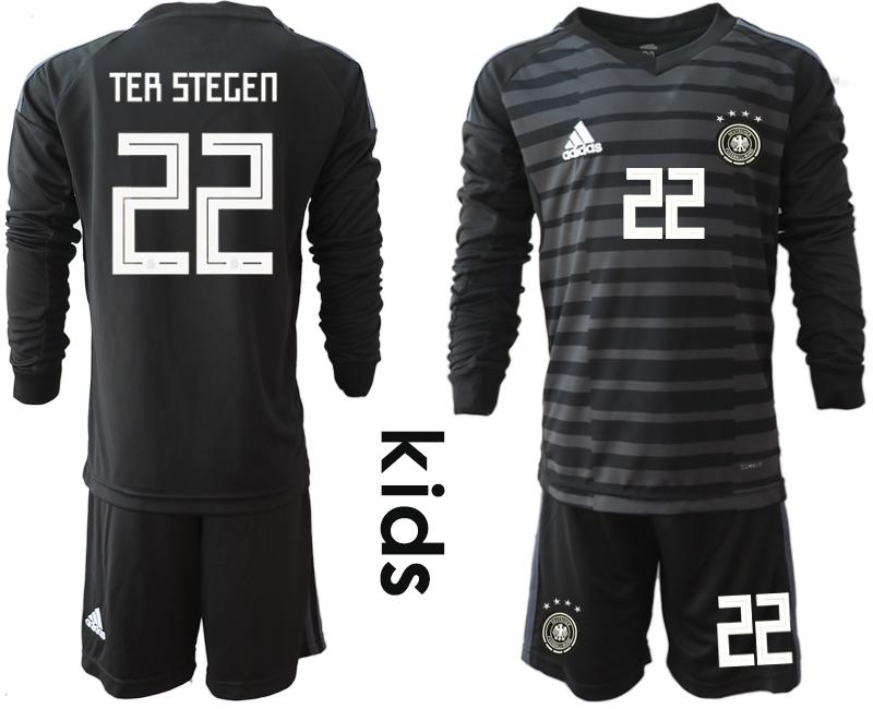2018-19 Germany 22 TER STEGEN Black Youth Long Sleeve Goalkeeper Soccer Jersey
