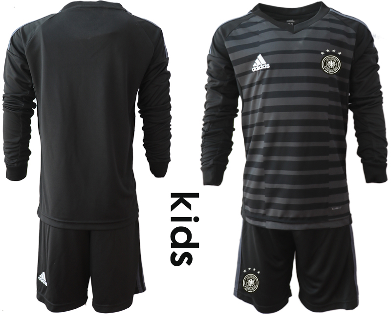 2018-19 Germany Black Youth Long Sleeve Goalkeeper Soccer Jersey