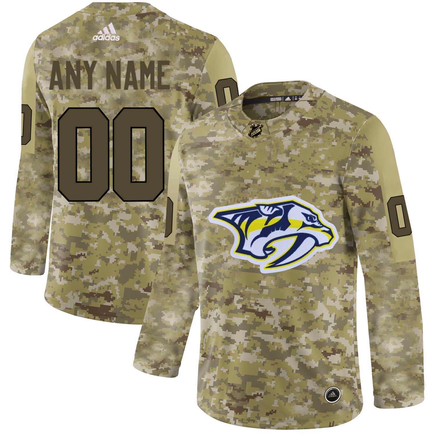 Nashville Predators Camo Men's Customized Adidas Jersey