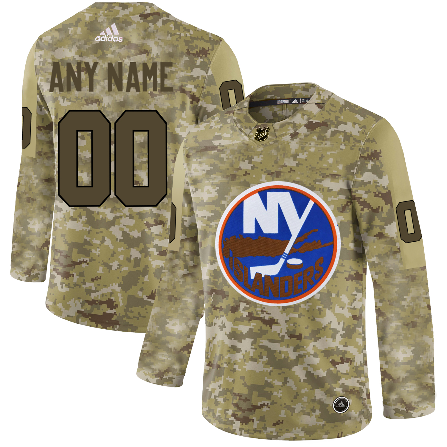 New York Islanders Camo Men's Customized Adidas Jersey