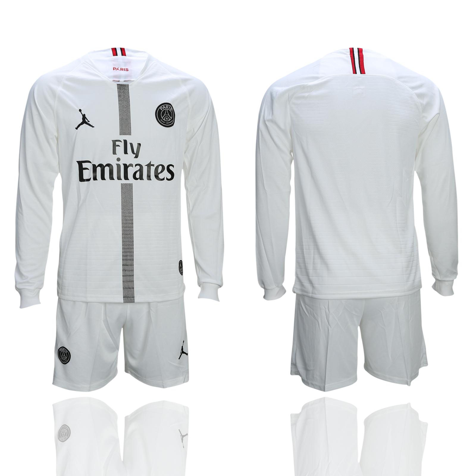 2018-19 Paris Saint-Germain White UEFA Champions League Long Sleeve Soccer Jersey