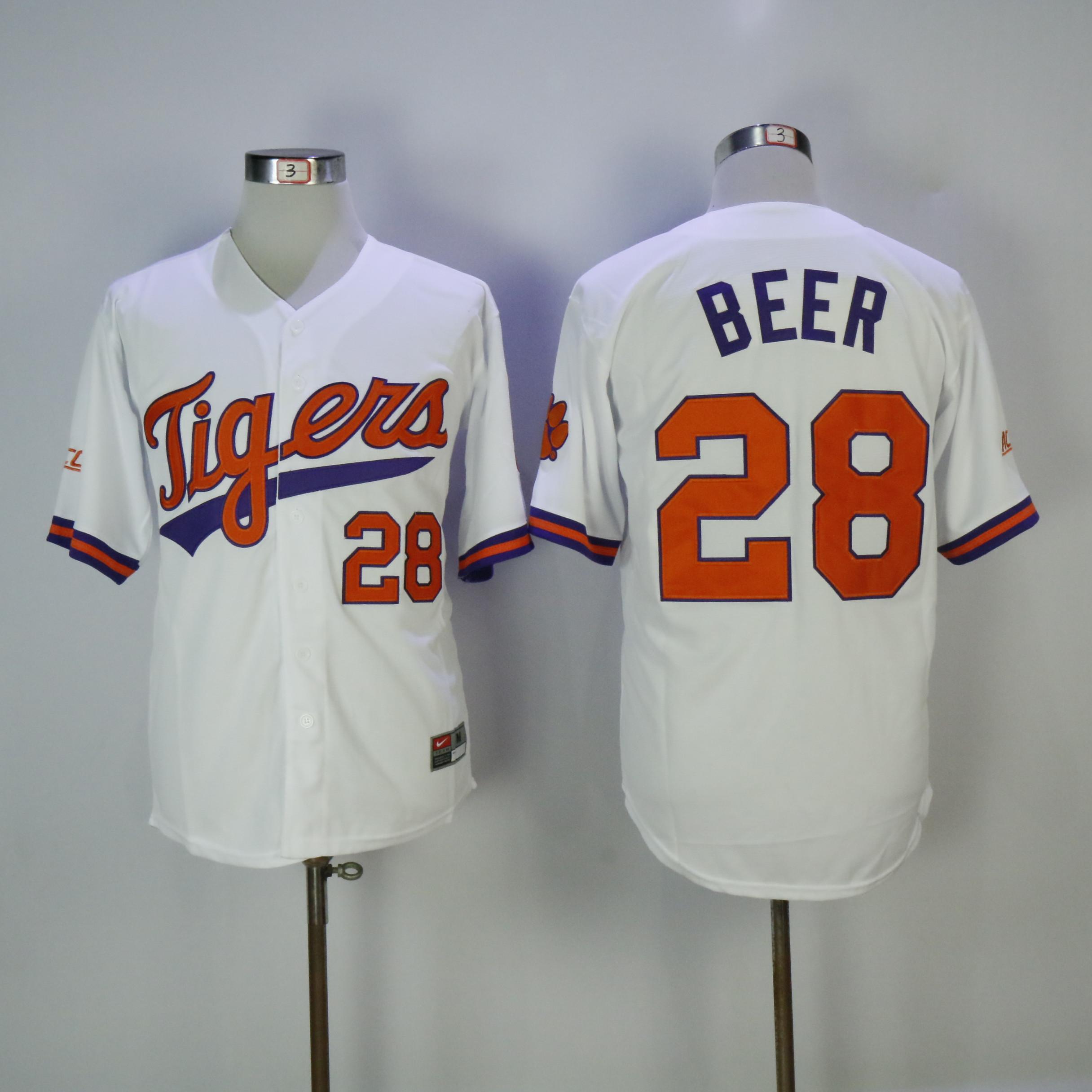 Clemson Tigers 28 Seth Beer White Nike College Baseball Jersey