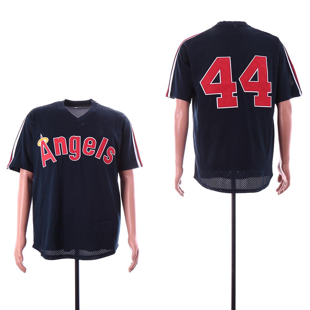 Angels 44 Reggie Jackson Navy BP Mesh Jersey