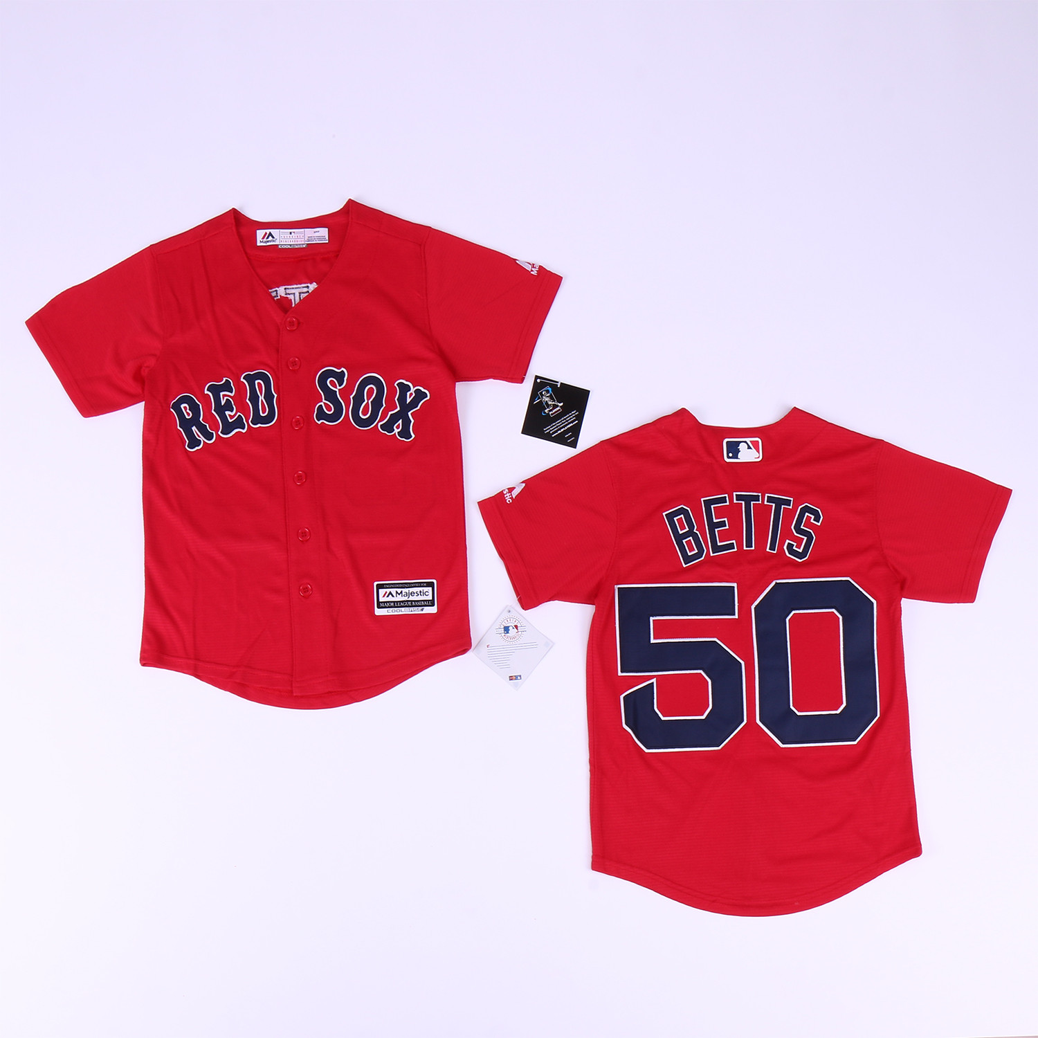 Red Sox 50 Mookie Betts Red Youth Cool Base Jersey