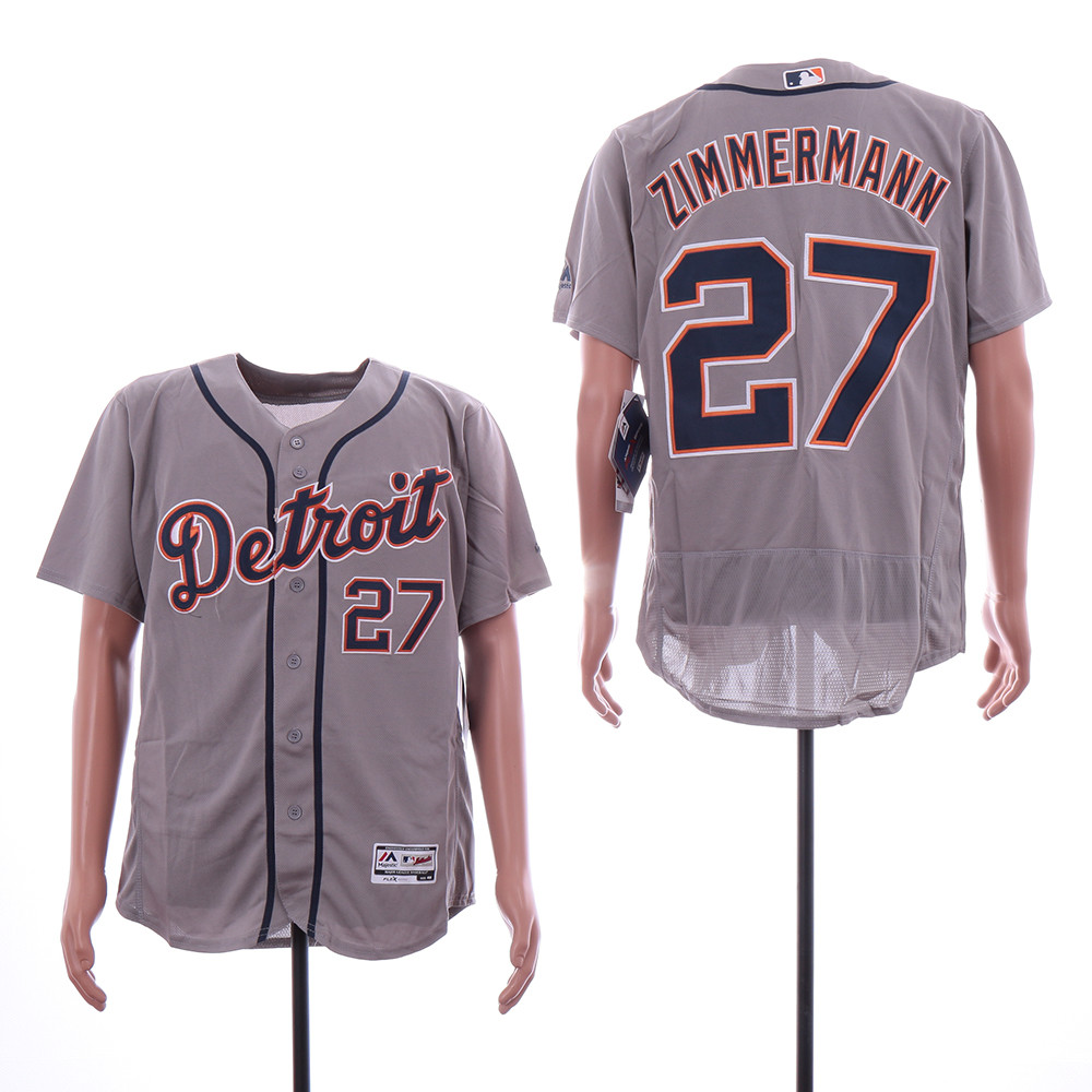 Tigers 27 Jordan Zimmermann Gray Flexbase Jersey