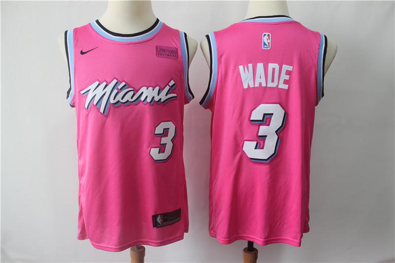 Heat 3 Dwyane Wade Pink 2018-19 Earned Edition Nike Swingman Jersey