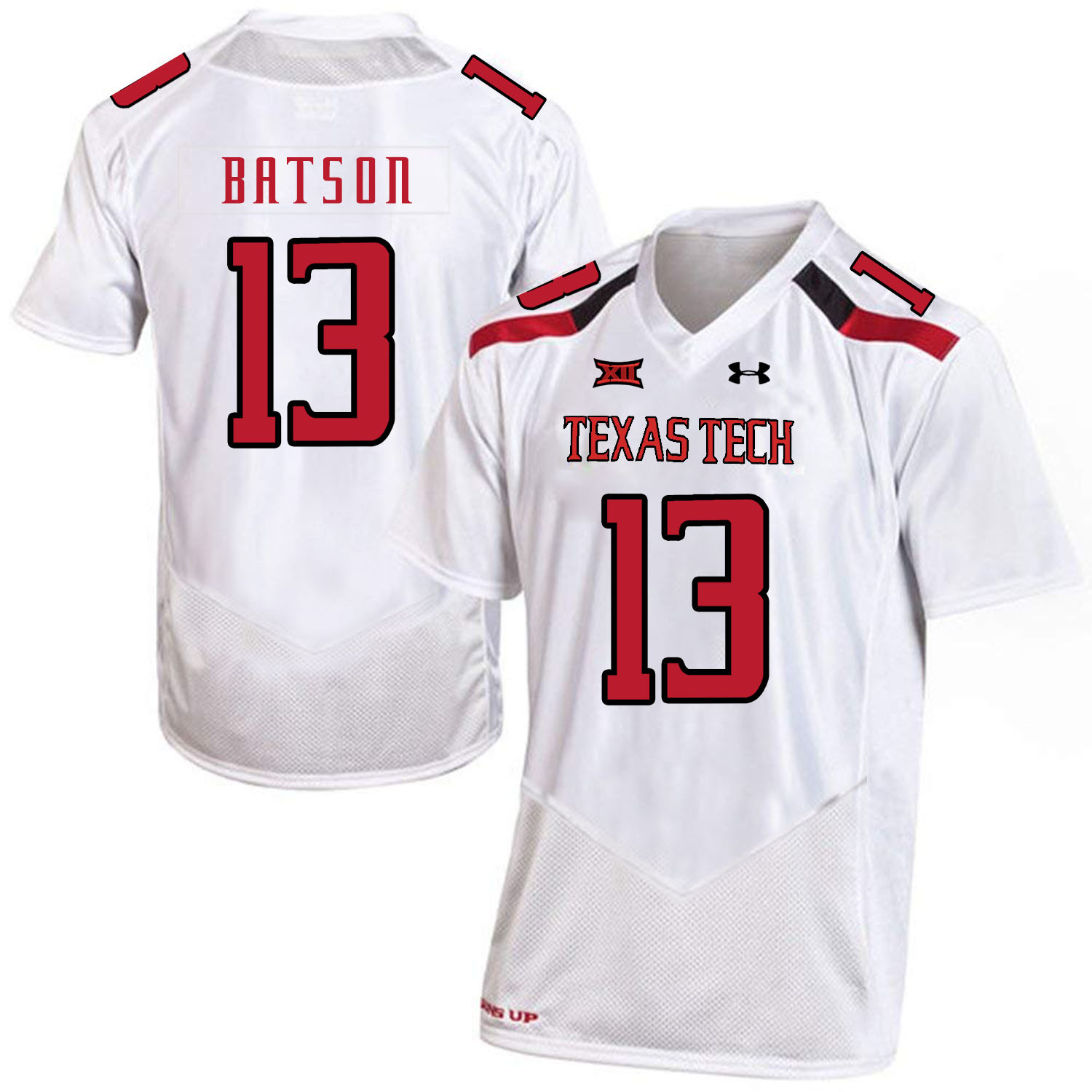 Texas Tech Red Raiders 13 Cameron Batson White College Football Jersey