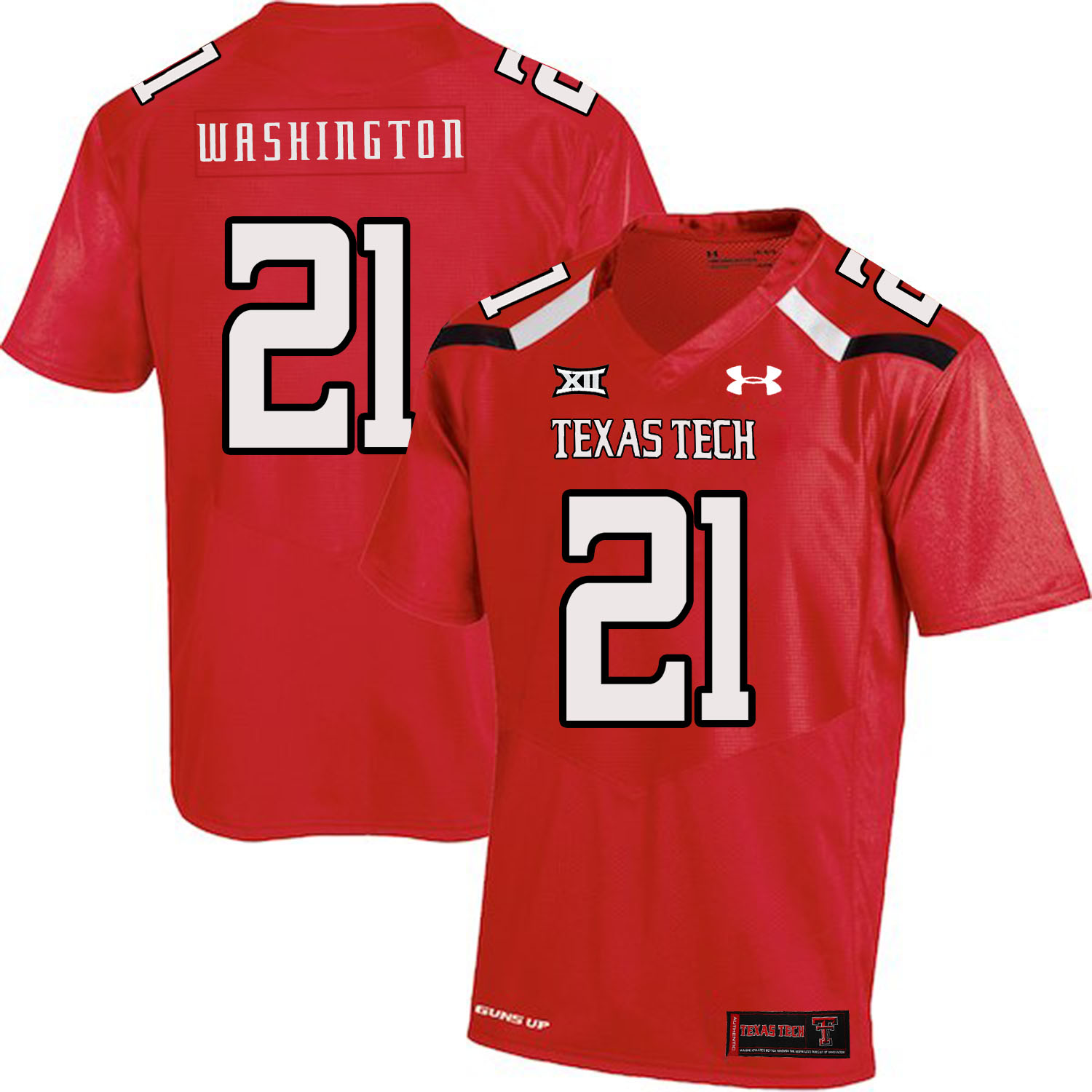 Texas Tech Red Raiders 21 DeAndre Washington Red College Football Jersey