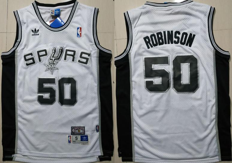 Spurs 50 David Robinson White Hardwood Classics Jersey