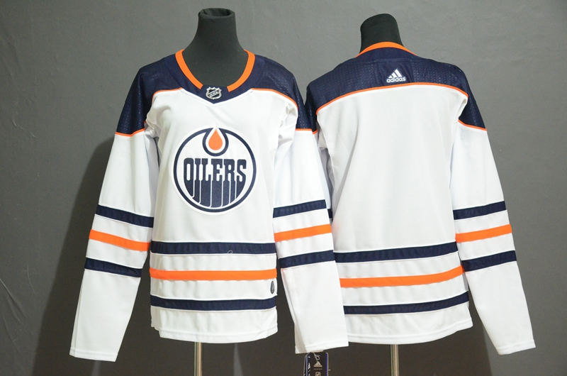 Oilers Blank White Youth Adidas Jersey