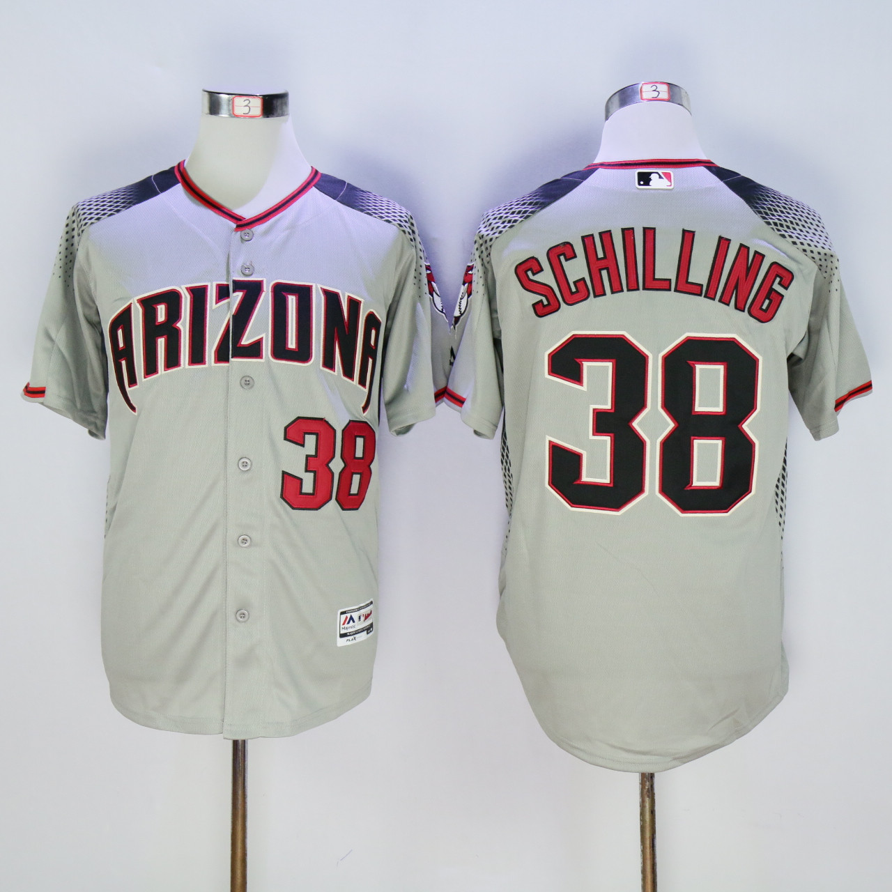 Diamondbacks 38 Curt Schilling Gray Flexbase Jersey