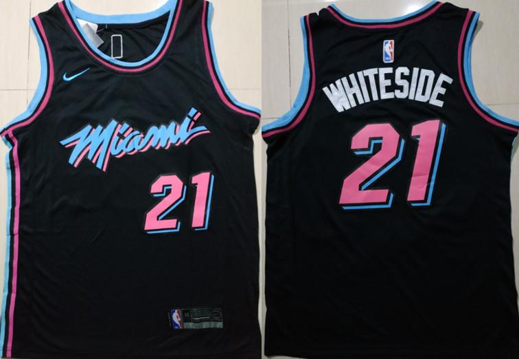 Heat 21 Hassan Whiteside Black 2018-19 City Edition Nike Swingman Jersey