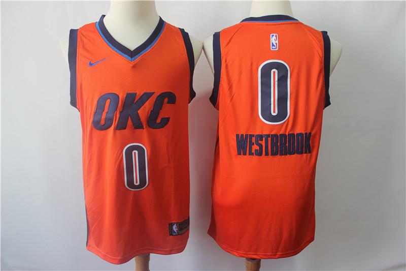 Thunder 0 Russell Westbrook Orange 2018-19 Earned Edition Nike Swingman Jersey