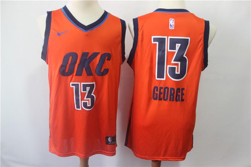 Thunder 13 Paul George Orange 2018-19 Earned Edition Nike Swingman Jersey