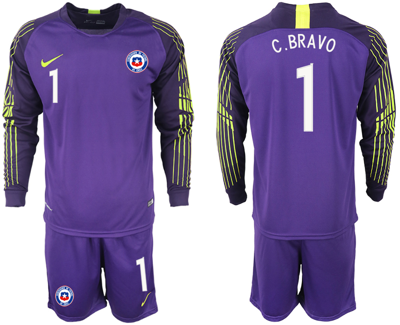 2018-19 Chile 1 C. BRAVO Purple Long Sleeve Goalkeeper Soccer Jersey