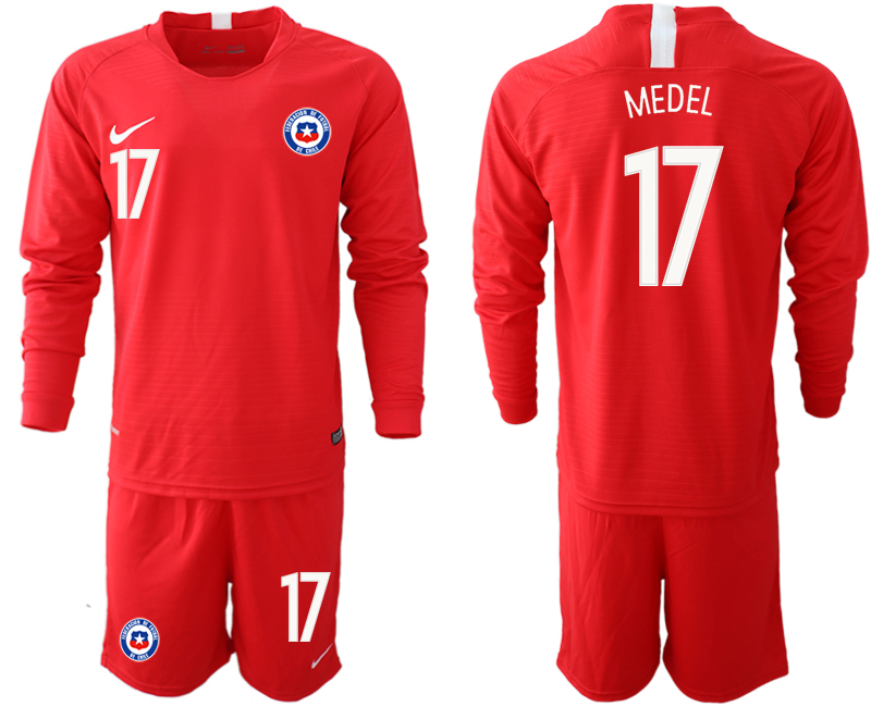 2018-19 Chile 17 MEDEL Home Long Sleeve Soccer Jersey
