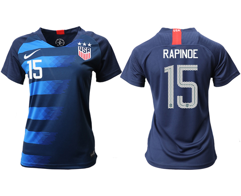 2018-19 USA 15 RAPINOE Away Women Soccer Jersey