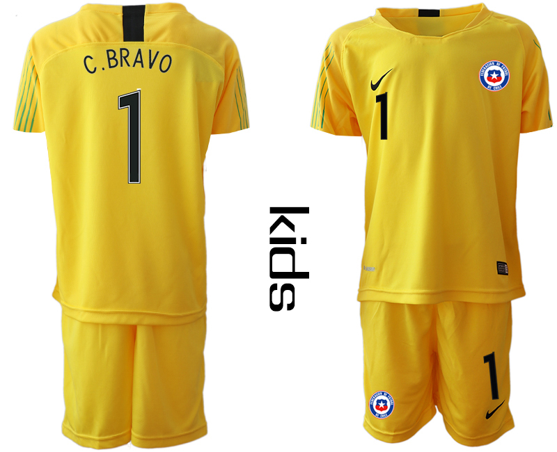 2018-19 Chile 1 C. BRAVO Yellow Youth Goalkeeper Soccer Jersey