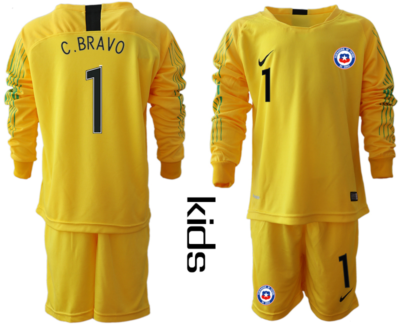 2018-19 Chile 1 C. BRAVO Yellow Youth Long Sleeve Goalkeeper Soccer Jersey