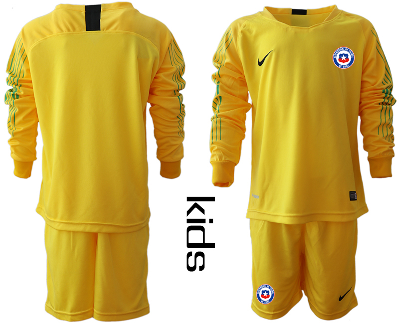 2018-19 Chile Yellow Youth Long Sleeve Goalkeeper Soccer Jersey