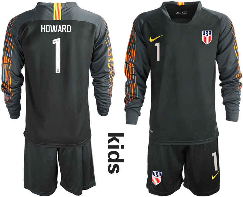 2018-19 USA 1 HOWARD Black Youth Long Sleeve Goalkeeper Soccer Jersey