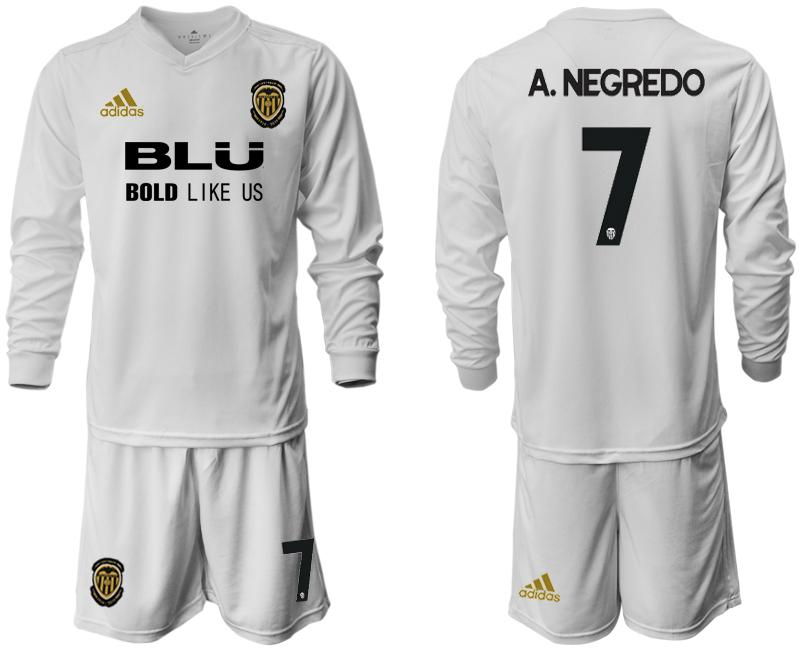 2018-19 Valencia 7 A. NEGREDO Home Long Sleeve Soccer Jersey