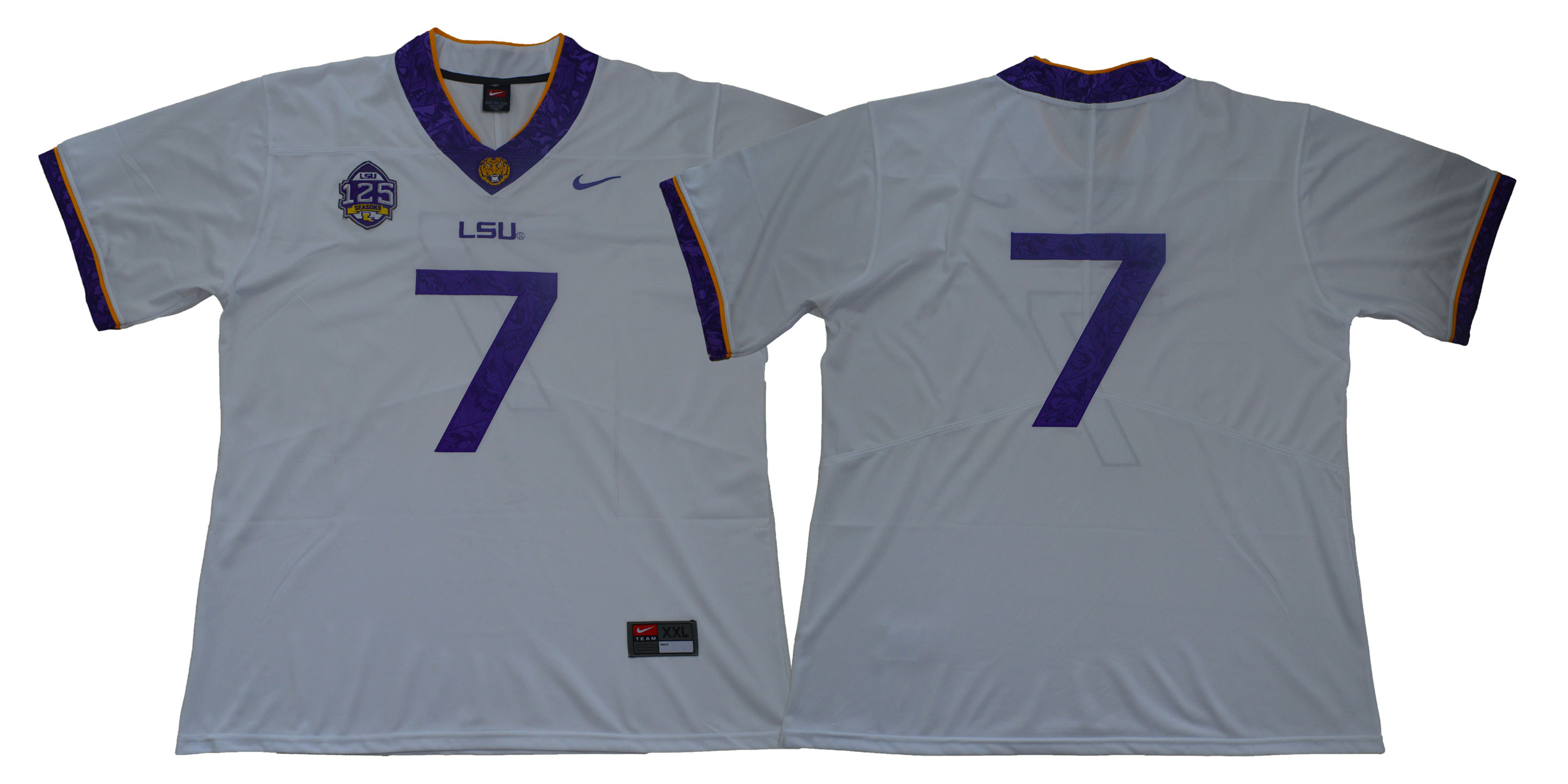 LSU Tigers #7 White 125 Sesons Nike College Football Jersey