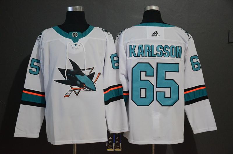 Sharks 65 Erik Karlsson White Adidas Jersey