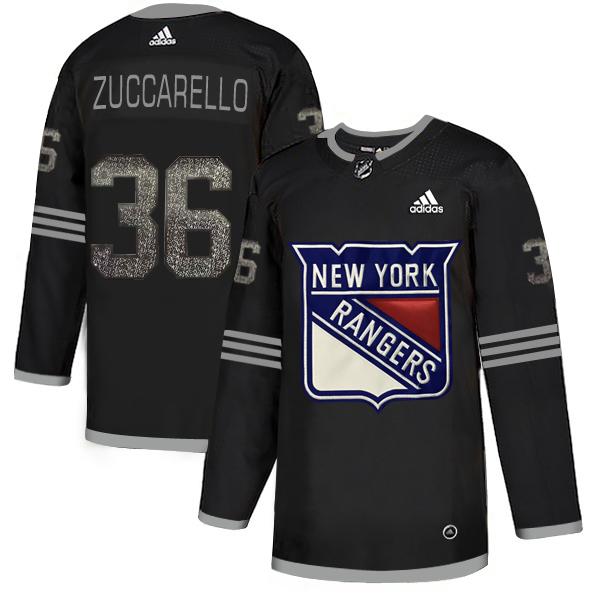 Rangers 36 Mats Zuccarello Black Shadow Adidas Jersey