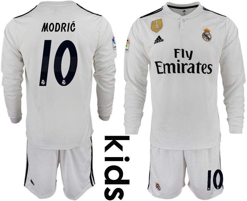 2018-19 Real Madrid 10 MODRIC Home Youth Long Sleeve Soccer Jersey