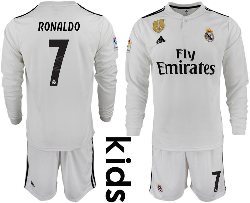 2018-19 Real Madrid 7 RONALDO Home Youth Long Sleeve Soccer Jersey