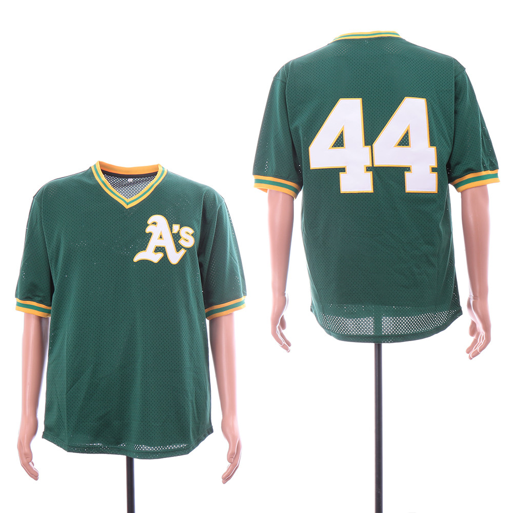Athletics 44 Reggie Jackson Green Mesh Throwback Jersey
