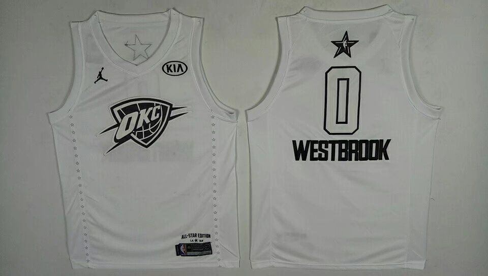 Thunder 0 Russell Westbrook White 2018 All-Star Game Jordan Brand Authentic Jersey