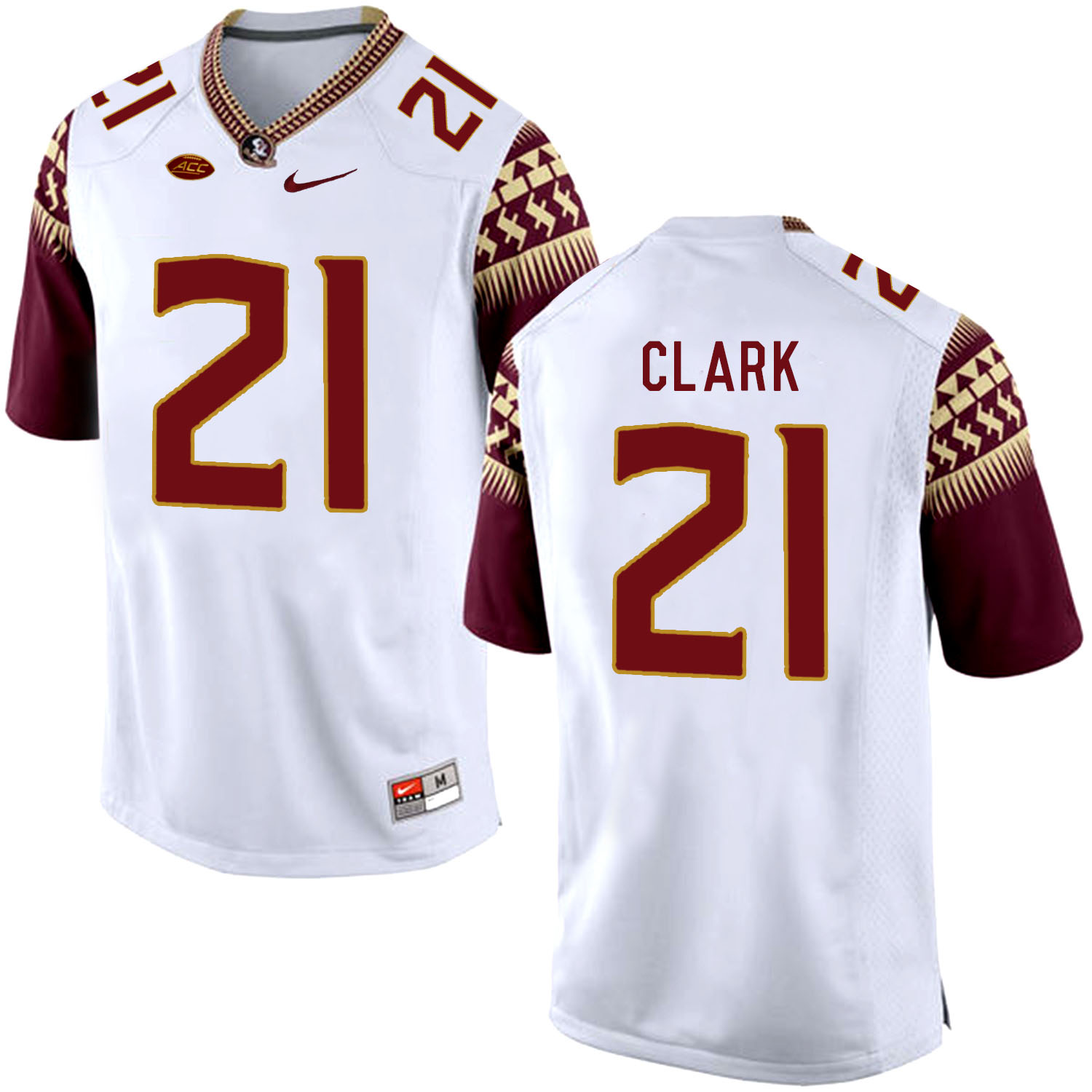 Florida State Seminoles 21 Corey Clark White College Football Jersey