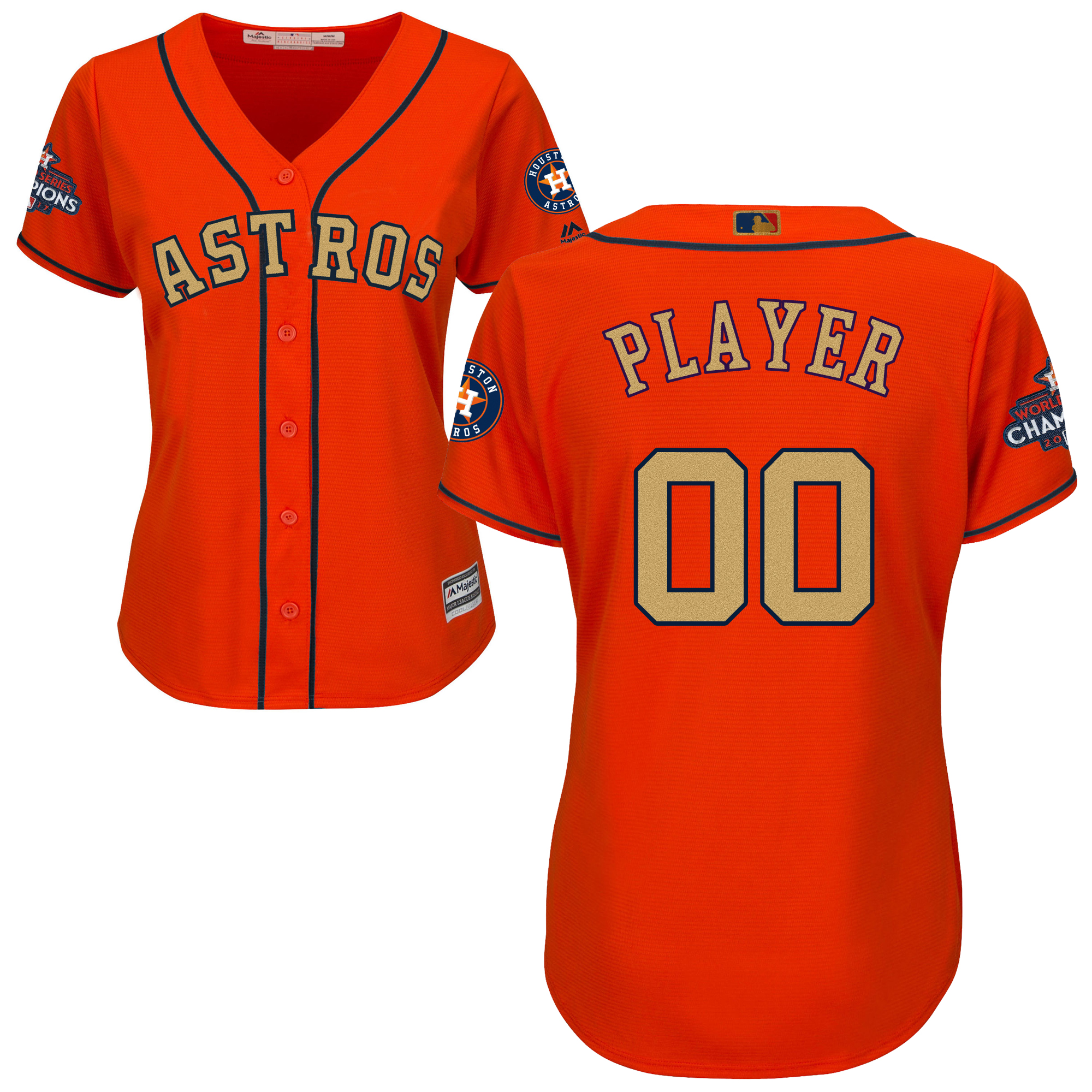 Houston Astros Orange 2018 Gold Program Women's Customized Cool Base Jersey