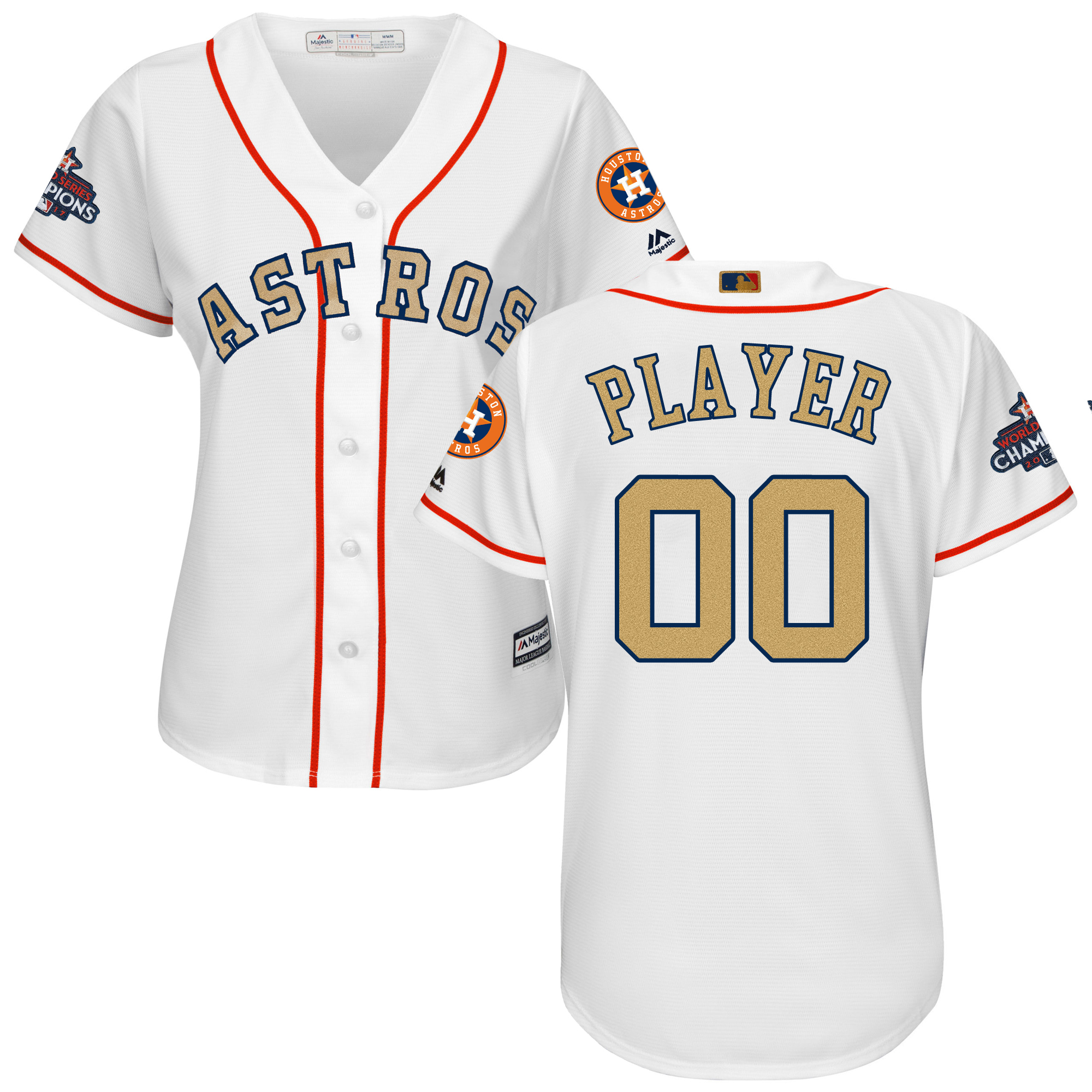 Houston Astros White 2018 Gold Program Women's Customized Cool Base Jersey