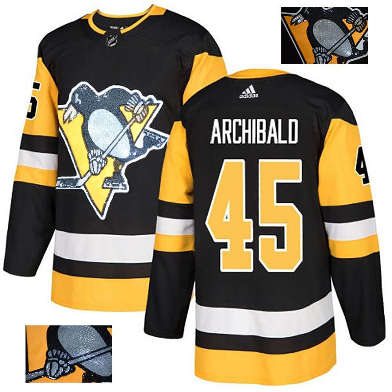 Penguins 45 Josh Archibald Black Glittery Edition Adidas Jersey