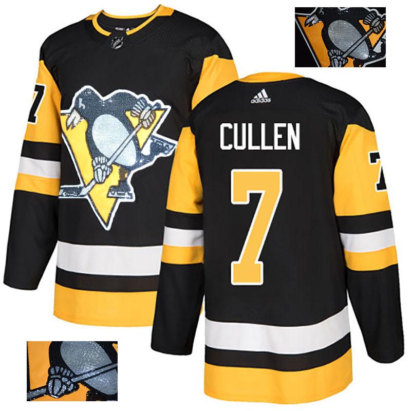 Penguins 7 Matt Cullen Black Glittery Edition Adidas Jersey