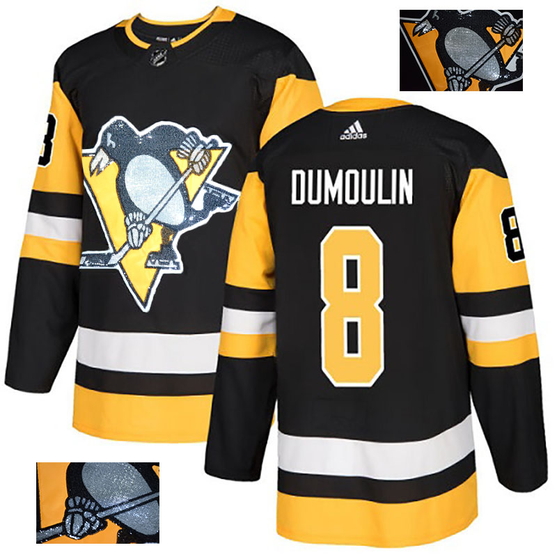 Penguins 8 Brian Dumoulin Black Glittery Edition Adidas Jersey