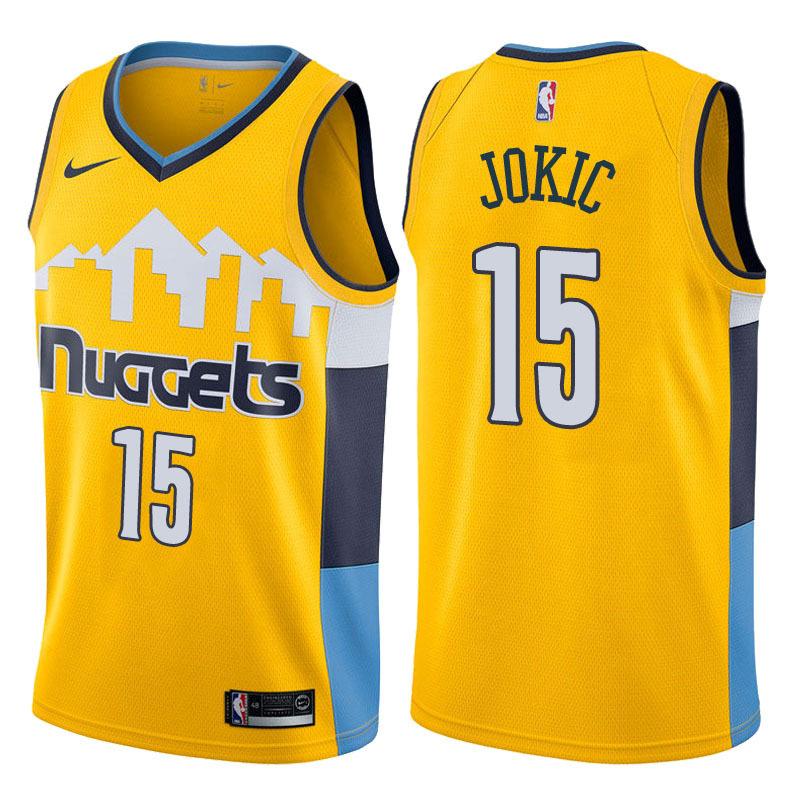 Nuggets 15 Nikola Jokic Yellow Nike Swingman Jersey