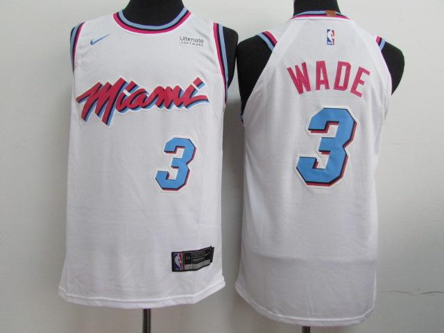 Heat 3 Dwyane Wade White City Edition Nike Authentic Jersey
