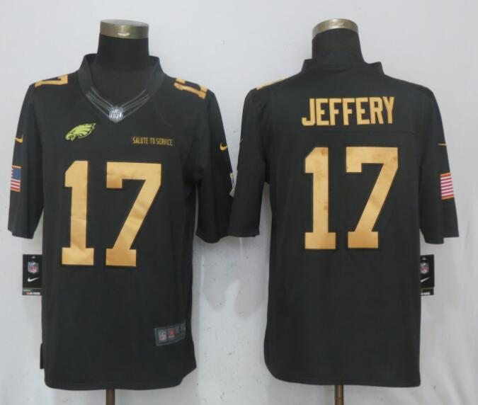 Nike Eagles 17 Alshon Jeffery Anthracite Gold Salute To Service Limited Jersey