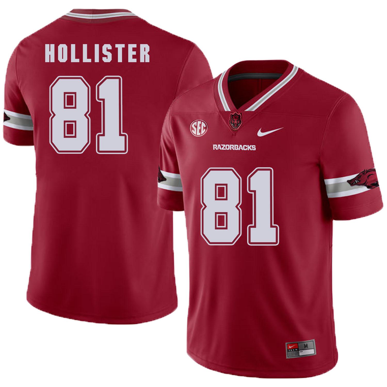 Arkansas Razorbacks 81 Cody Hollister Red College Football Jersey