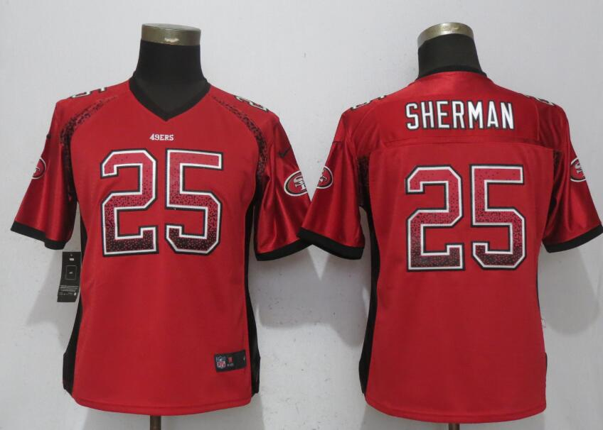 Nike 49ers 25 Richard Sherman Red Women Drift Fashion Jersey
